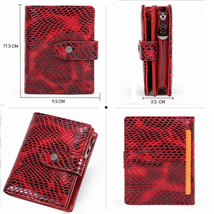 Image 4 - Contacts Small wallet Women Genuine Leather Female hasp short Coin Purses Rfid Card Holder wallets for women carteira masculina