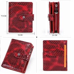 Image 4 - İletişim küçük cüzdan kadın hakiki deri kadın çile kısa bozuk para çantaları Rfid kart tutucu kadınlar için cüzdan carteira masculina