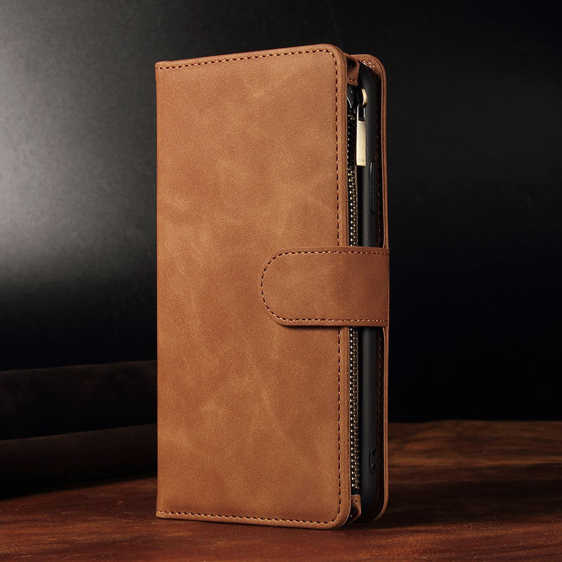 New Flip Cover Magnetic Book Case For iPhone 11 Pro Max Zipper Wallet Retro Leather Phone