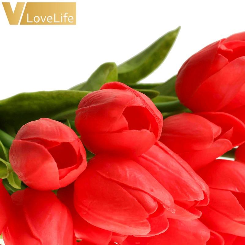 10pcs Artificial Tulip Flowers Mini tulip Flowers Real Wedding Flowers For Wedding Banquet Bridal Bouquet Home Garen Decoration 4