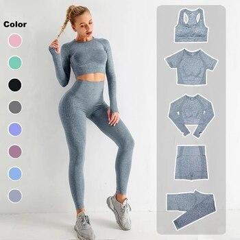 Conjunto de Yoga sin costuras para mujer ropa deportiva de entrenamiento, gimnasio, Top corto de manga larga para Fitness, Leggings de cintura alta, trajes deportivos, 2/3/5 Uds.