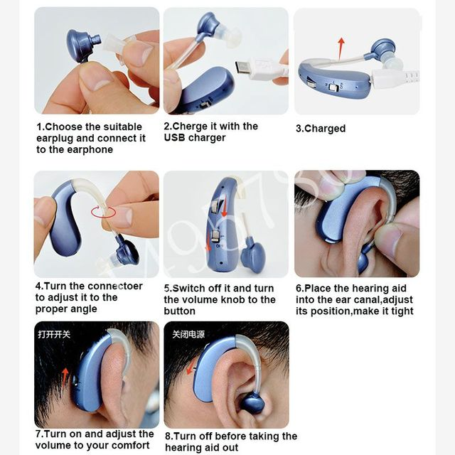 Rechargeable Mini Digital Hearing Aid Sound Amplifiers Wireless Ear Aids for Elderly Moderate to Severe Loss Drop Shipping 5