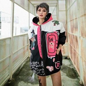 Image 5 - 冬の女性のジャケットジッパーパーカーストリートグラフィティプリントカジュアル厚い綿のコート女性のための原宿ヒップホップジャケット