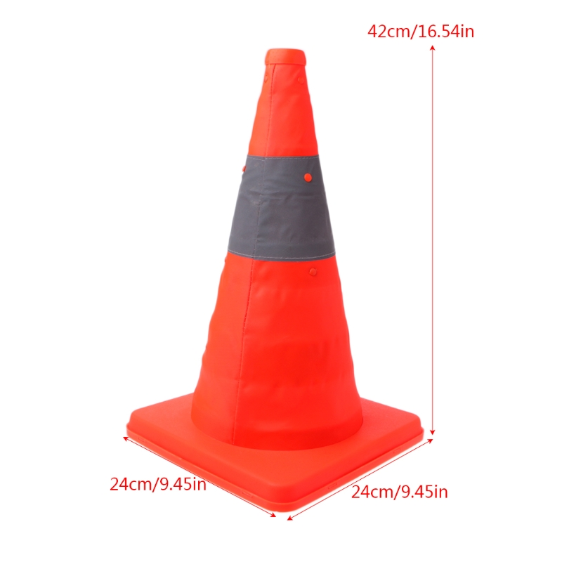 42cm Folding Road Safety Warning Sign Traffic Cone Orange Reflective Tape