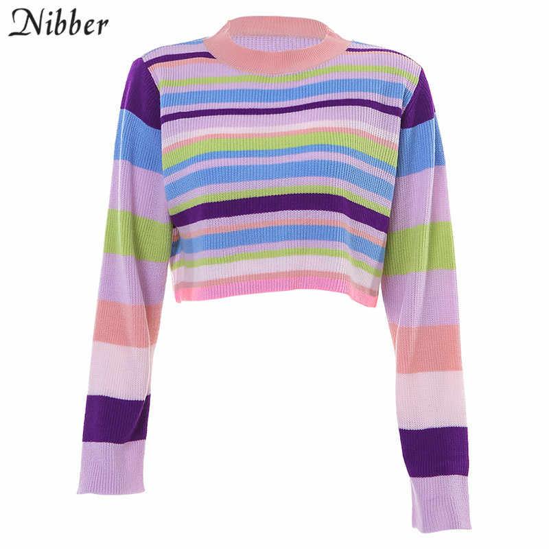 Nibber autumn hot Colorful Harajuku Sweater women2019fall winter loose Basic crop top ladies Elegant street casual Sweater mujer