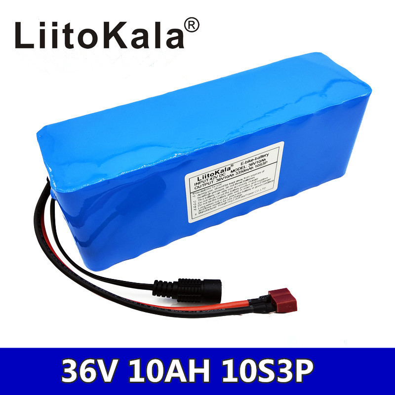 LiitoKala <font><b>36V</b></font> <font><b>10Ah</b></font> 500W high power and capacity 42 <font><b>18650</b></font> lithium battery pack ebike electric car Cycling engine scooter with BMS image