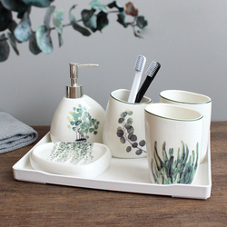 Bathroom Accessory Set Ceramic Imitation Marble Washing Tools Bottle Mouthwash Cup Soap Toothbrush Holder Household Articles