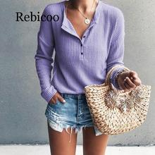 Long-sleeved women's shirt spring and autumn button slim rib knit large size base T-shirt
