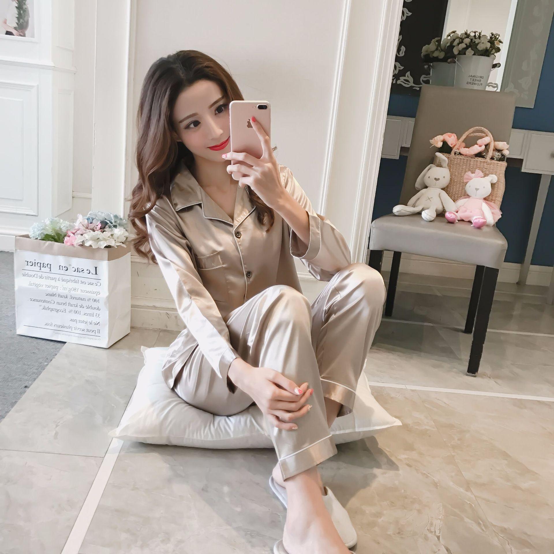 2019 Autumn New Women Silk Satin Pajama Sets Long Sleeve Sleepwear Set Two pieces Pijama Pajamas Suit Female Breathable Pyjamas