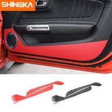 Shineka interior molduras para ford mustang porta do carro de fibra de carbono anti-pontapé anti-adesivo sujo para ford mustang 2015 2016 2017