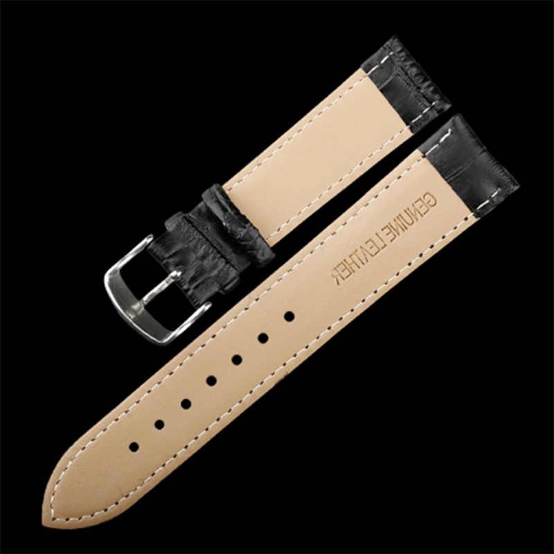 Correa de reloj 18 mm 19 mm 20 mm 21 mm 22 mm 22 mm correa de cuero genuino para mujer hombre correa negra marrón