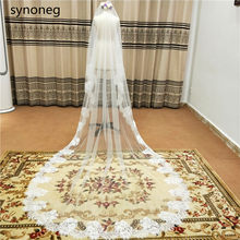 New Arrival 2m 3m Cathedral Wedding Veils Long Bridal Veil 2019 One Layer White Ivory Lace Bride Veils Wedding Accessories(China)