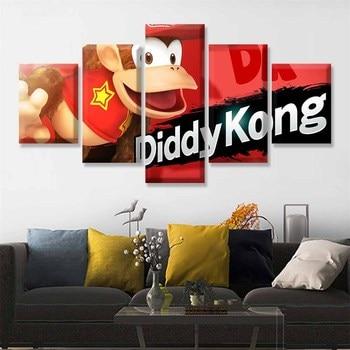 Pósteres de juego lienzo en módulos, cuadros, 5 piezas, pintura abstracta final de Super Smash Bros, Marco impreso, arte, decoración de pared de habitación para niños