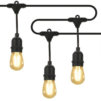 Led Light String E27 Lamp Head Power Line Waterproof Marquee for Garden, Family, Backyard, Wedding, Cafe Eu Plug