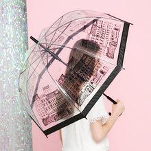 Transparent Umbrella British Building Long-Handle Umbrellas Semi Automatic City Pattern Clear Kid Travel Outdoor Supply