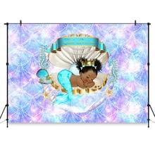 Королевское Русалка Принцесса Фон Под Морские Раковины Корона Душа Ребенка Фон Маленькая Черная Девочка День Рождения Украшения