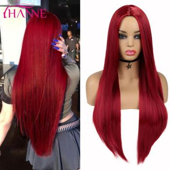 HANNE Red/Green/Blue/Purple Long Straight Party Wig For Black/White Women Heat Resistant Fiber Natural Looking Hair