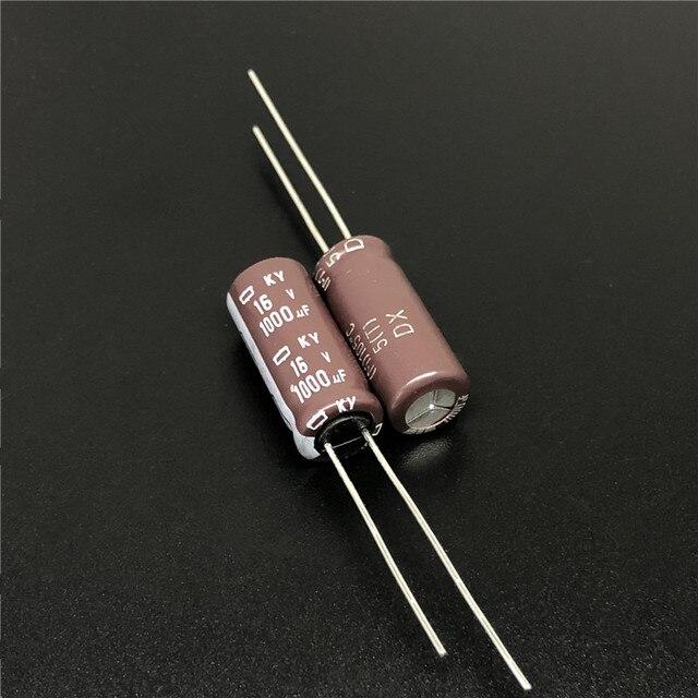 10 قطعة 1000 فائق التوهج 16V نيبون NCC KY سلسلة 8x20 مللي متر منخفضة ESR 16V1000uF الألومنيوم مُكثَّف كهربائيًا