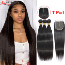 Straight Bundles With Closure Remy Bone Straight Human Hair Bundles With Closure Brazilian Bundles With T Part Lace Closure