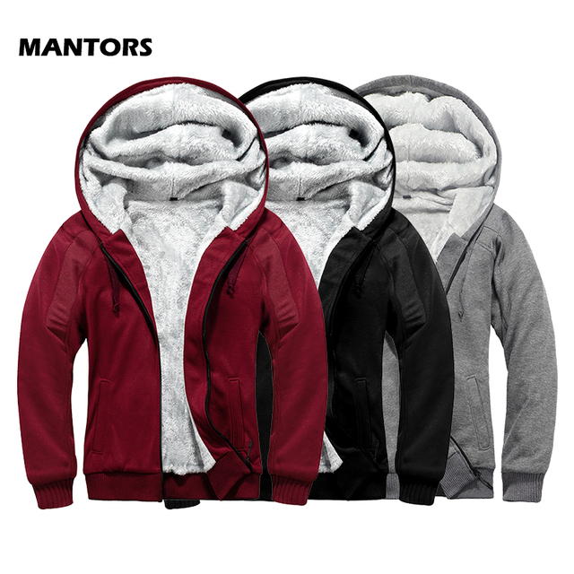 Brand Mens Fur Lined Hoodies Wool Warm Sweatshirts Autumn Winter Fleece Coats Sportswear 2019 Men Hoodie Outerwear Euro Size
