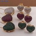 MHS.SUN модное ожерелье с кулоном в форме сердца с цирконом AAA женские серьги-гвоздики Роскошный CZ комплект ювелирных изделий для подарка на Де...