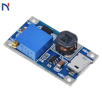 MT3608 DC-DC Adjustable Boost Module 2A DC DC Boost Step Up Convert with Micro USB 2V-24V to 5V 9V 12V 28V Power Module Booster image