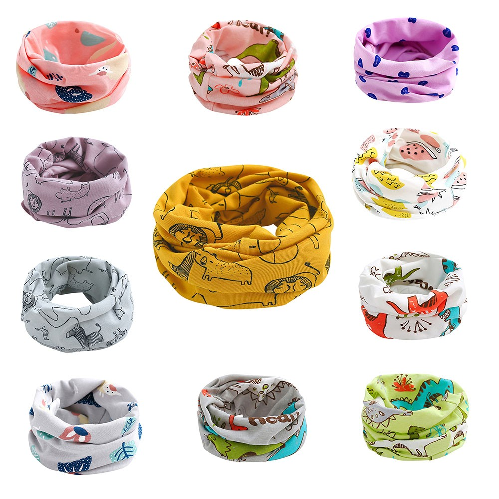 Children Cotton Accessories Baby Burp Solid Soft Scarf Ring Baby Bibs For Boys Girls Warm Winter Scarves Lovely Kids Neckerchief