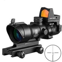 Охотничий Оптический Прицел ACOG 4x32, прицел для охоты, страйкбола с Docter, черные мини-прицелы, красный точечный прицел, датчик света, охота