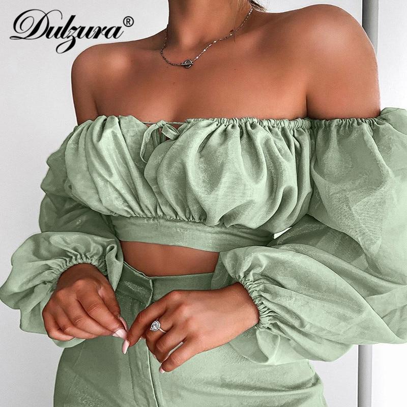 Dulzura 2019 Autumn Winter Women Shirts Crop Top Off Shoulder Long Sleeve Elegant Ruffle Sexy Bandage Hollow Out  Clothe Party