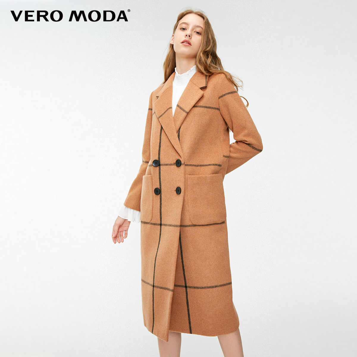 Vero Moda Women's Urban Plaid Straight Long Woolen Coat  | 318327514
