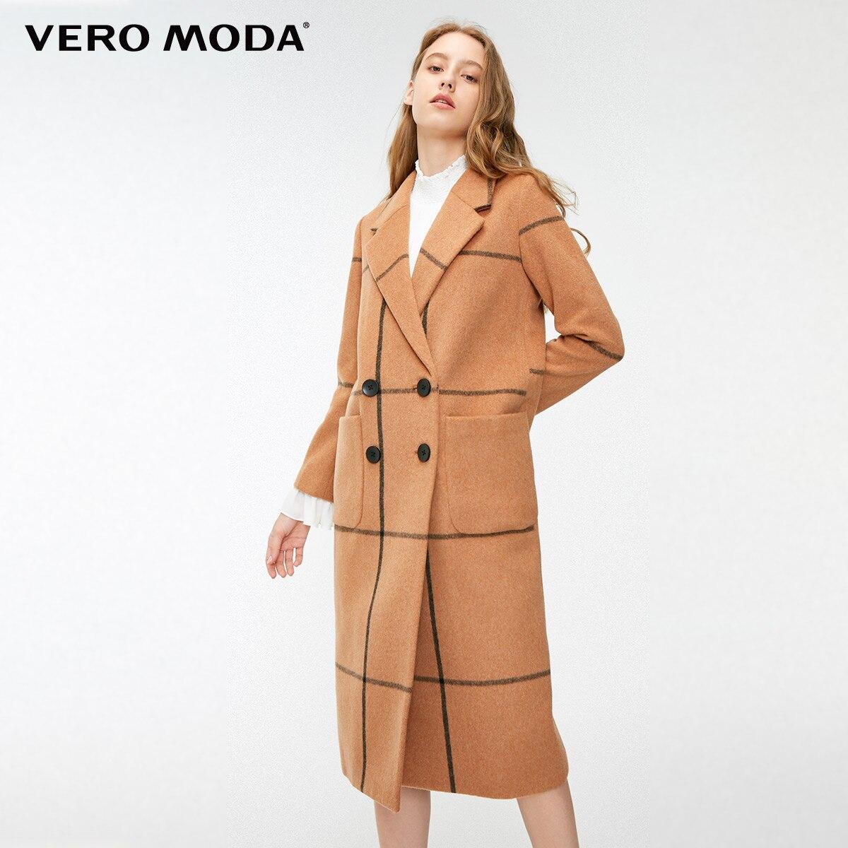 Vero Moda frauen Urban Plaid Gerade Lange Woolen Mantel  318327514-in Wolle & Mischungen aus Damenbekleidung bei  Gruppe 1