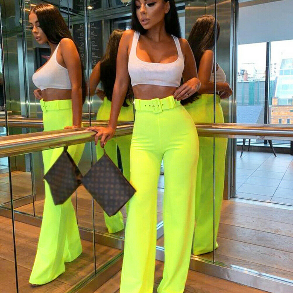 Office Lady OL Formal Women Plain Palazzo Wide Leg High Waist Belt Ladies Solid Color Trousers Pants