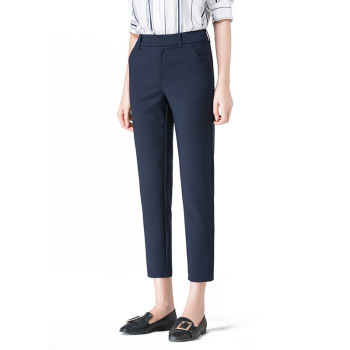 New Women Casual Spring Autumn Long Trousers Solid Elastic Waist Cotton Linen Pants Ankle Length Pants 6