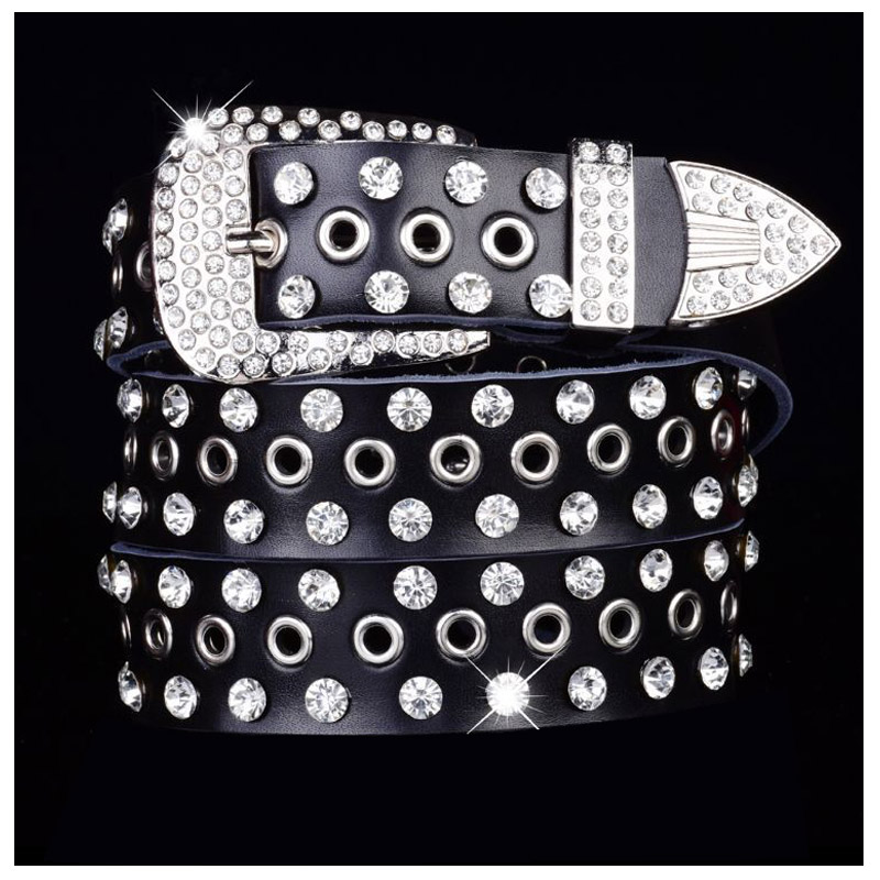 Western Rhinestone Holes Leather Jeans Causal Pants Women Belt Fashion Pin Buckle Women Belt