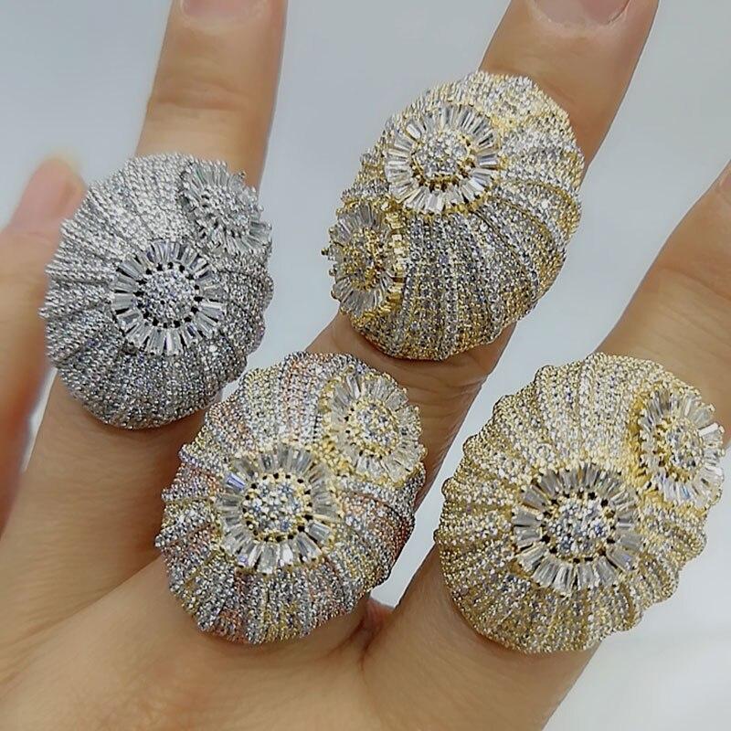 GODKI Bold Stacks Ring Luxury Flower Wheel CZ Cubic Zircon CZ Ring for Women Bridal Engagement Wedding Dubai Finger Rings