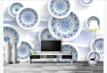 3D Mural Wallpaper Modern Creative Wallpaper For Bedroom blue and white porcelain TV Background Wall Murals(China)