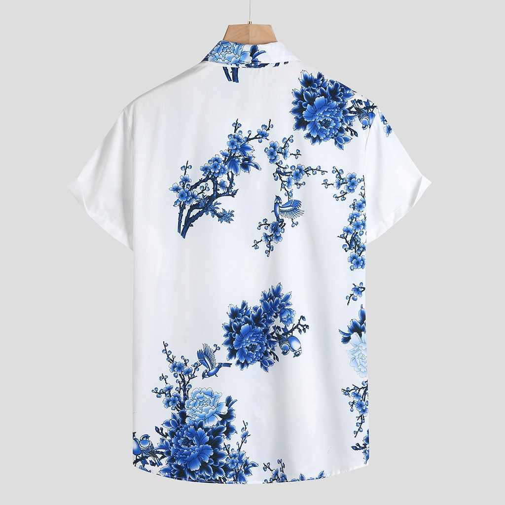 Koszula męska Camisa casualowa koszulka z krótkim rękawkiem męska luźna koszulka w klatce piersiowej z kołnierzykiem z okrągłym dekoltem męska bluzka Top Camisa masculina