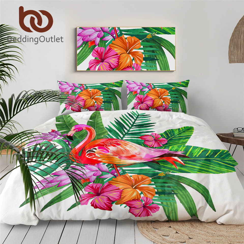 BeddingOutlet Flamingo Bedding Set Tropical Plant Quilt Cover King Size Home Bed Set Flower Print Pink and Green Bedclothes 3pcs 1