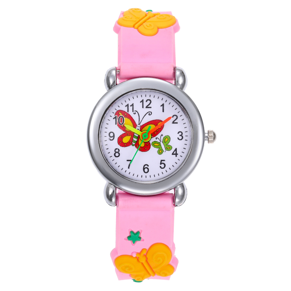 Lovely Cartoon Butterfly Children Watch Cute Kids Girls Watches Genuine Silicone Strap  Kid Wristwatch Students Clock Girls Gift