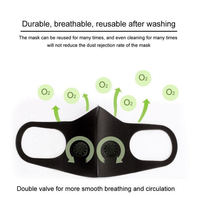 PM2.5 Anti Dust Sponge Face Mask Pollution Respirator Black Breathable Valve Mouth Masks Filter Mouth Cover Unisex 5