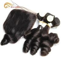 Hair Extensions Curly Hair Bundles With Closure Funmi Hair 5Pcs with Closure Remy Human Hair Weaves Peruvian Loose Wave Bundles