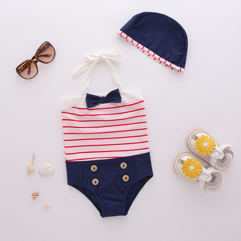Girl'S One-piece Swimming Suit Red And White Striped Bow Hooded-Children Hot Springs Bathing Suit