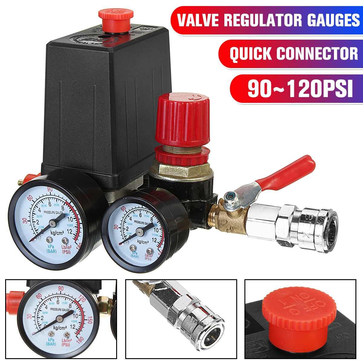 Válvula de conmutación con conector rápido, regulador múltiple de 240V, Control de presión de bomba de compresor de aire, válvula de 90-120 PSI con manómetro