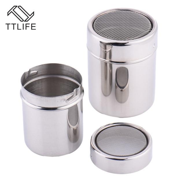 TTLIFE New 1Pc Stainless Steel Sprinkle Cocoa Cinnamon Sugar Gauze Mesh Jar Seasoning Bottle Fancy Coffee Powder Duster 5