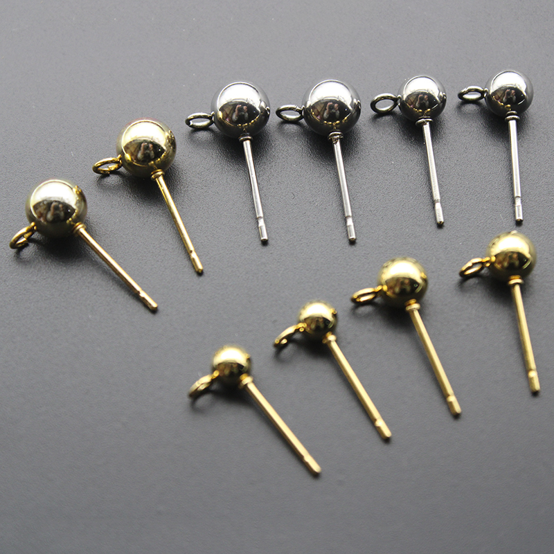 20Pcs 925 Ball Ear Pin Studs Earrings Posts Back with Loop Jewelry Making
