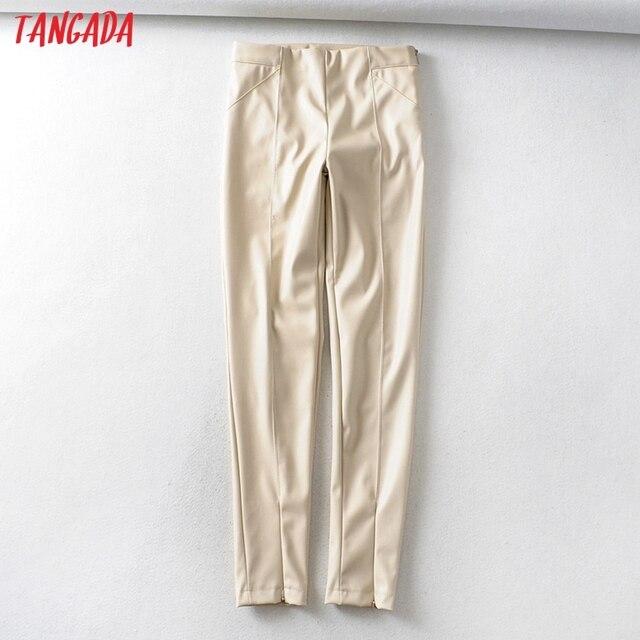 Skinny leather stretch zipper female pencil trousers 1