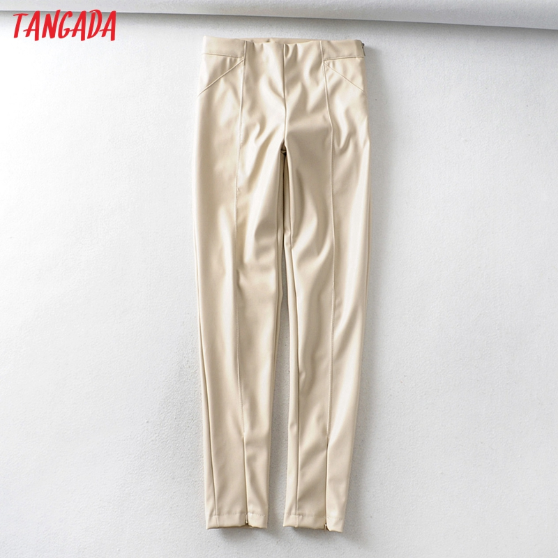 Tangada women white skinny PU leather pants stretch zipper female autumn winter pencil pants trousers 6A04 9