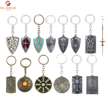 Game Dark Souls 3 Keychains Sun Knight Emblem Metal Vintage Round Shield Keyring For Men Car Jewelry Gifts