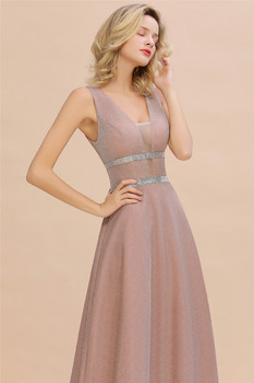 Robe De Soiree Dusty Rose Long Evening Dress 2020 Sexy Deep V-neck Navy Blue Evening Prom Gowns Vestido de Festa 5