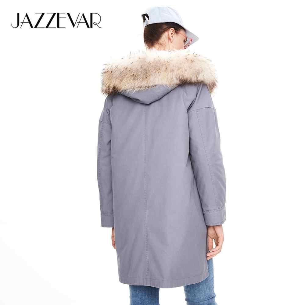 Jazzevar 2019 inverno nova chegada casaco feminino de alta qualidade mid-length estilo moda parka com pele real quente casaco feminino K9036-1